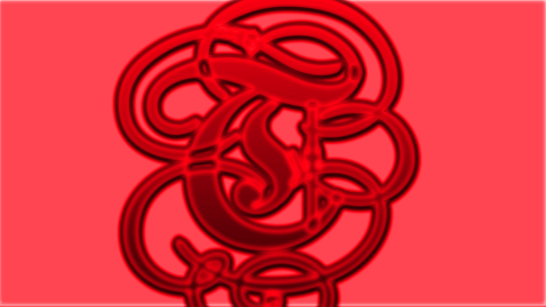 Ruecross symbol in red glass