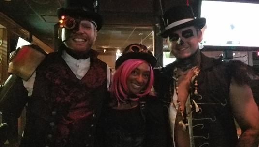 Me cosplaying as Rabbit from Steam Powred Giraffe and some really handsome strangers.