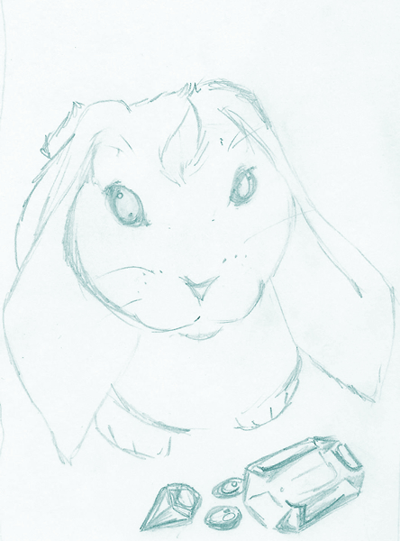 Soft ashbunny with a bright blaze of fur on its head, seated next to gleaming gems.
