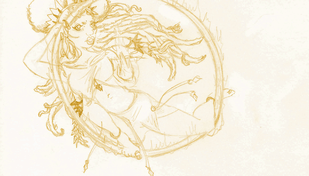 Goddess of Fire Hichristy crouched inside the fiery chakram, her hand ablaze with power.